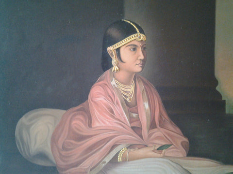 Indian Embellished Painting Portrait of a Noble Woman, 20th century, oil on canvas
