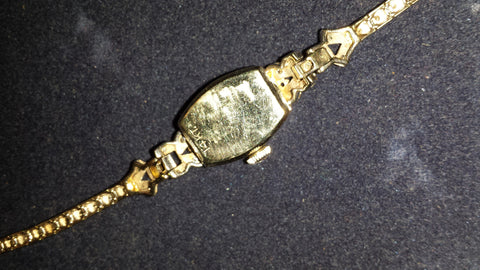 Ladies 14K Yellow Gold and Diamond Wrist Watch with Bracelet, Hamilton Watch Company, Lancaster, PA, ca. mid 20th century