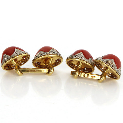 Pair of Art Deco Style 18K Yellow Gold, Diamond and Red Coral Cufflinks, 20th century
