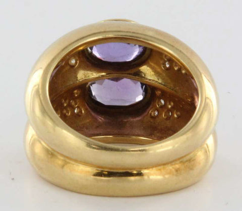 14K Yellow Gold, Diamond and Amethyst Cocktail Ring, 20th century