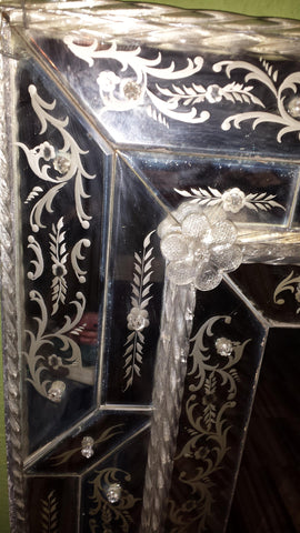 Venetian Style Etched and Molded Glass Rectangular Mirror, mid-20th century