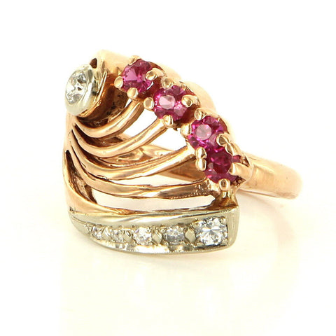 Art Deco Style 14K Rose Gold, Diamond and Ruby Cocktail Ring, 20th century