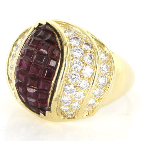 18K Yellow Gold, Diamond and Ruby Cocktail Ring, Kutchinsky, 20th century