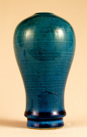 Chinese Fa Hua Blue Glazed Meiping Vase, ca. mid to late 19th century, a copy of a Ming Dynasty design