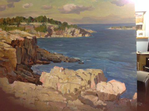 George Cherepov (American, 1909-1987), New England Coast, oil on board, signed, 20th century
