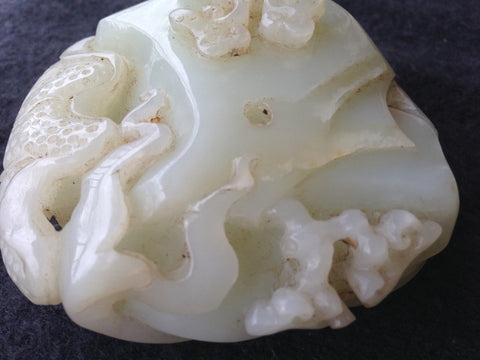 Chinese Carved Celadon Nephrite Hand Piece, 20th century, in the style of the late Qing Dynasty