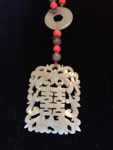 Beaded Necklace with Chinese White Carved Jade Pendant, 20th century, with gold-color filigree beads