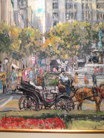 "Kamil Kubik (Czechoslovakian/American, 1930-2011), ""The Plaza (Circa 1973)"", mixed media with pastel and oil, signed"