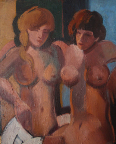 Claude Lacaze (French, b. 1938), Two Nudes, oil on canvas, 20th century, signed