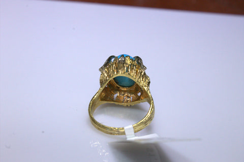 14K Yellow Gold, Diamond, and Turquoise Ring, 20th century