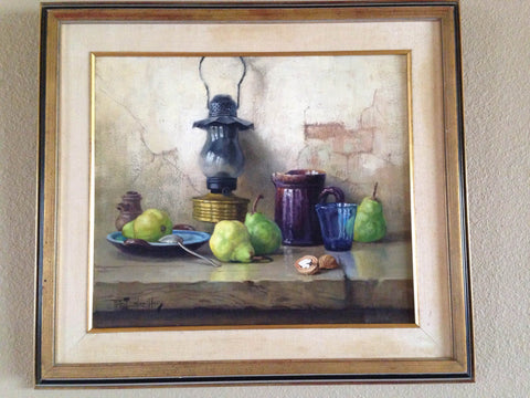 "Robert Chailloux (French, 1913-2006), ""Still Life with Oil Lamp"", oil on canvas, signed"