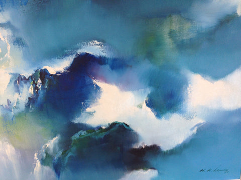 Ken Hong Leung (Chinese/American, b. 1933), Floating Mountains, oil on canvas, signed and dated 1977