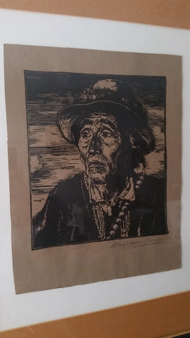 Carl Oscar Borg (Swedish/American, 1879-1947), Portrait of a Native American, woodcut, ca. 1923