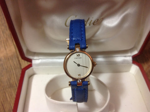 18K Yellow Gold and Diamond Swiss Ladies Quartz Wristwatch, made for Cartier, Paris, ca. 1985-90, with cobalt leather strap