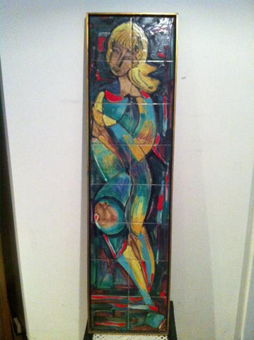 American Polychrome Enameled Ceramic Tile Panel,  Abstract figure, mid-20th century