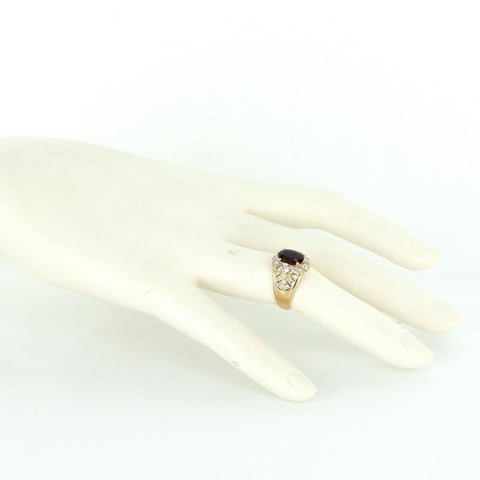 18K Yellow Gold, Diamond and Garnet Cocktail Ring, 20th century