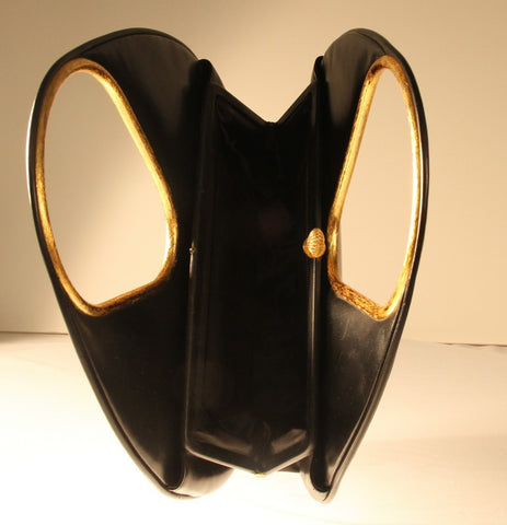 Holzman Black Leather Handbag, 20th century