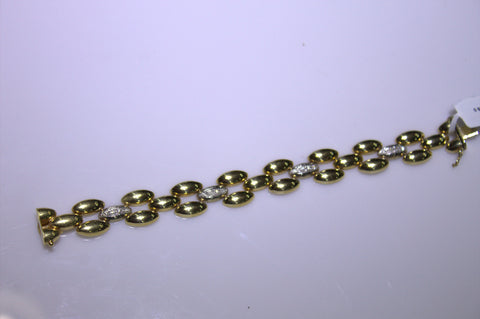 14K Yellow and White Gold and Diamond Bracelet, 20th century