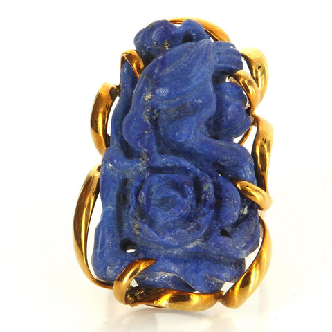 14K Yellow Gold and Lapis Lazuli Cocktail Ring, mid-20th century