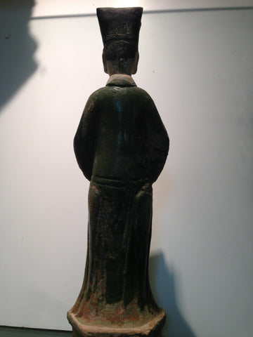Chinese Pottery Funerary Model of an Official, probably Ming Dynasty (1368-1644), with green lead glaze