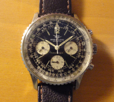 Swiss Men's Breitling Chronograph Wristwatch Stainless Steel. 'Navitimer' model, Ref # 806, manually wound, late 1960s