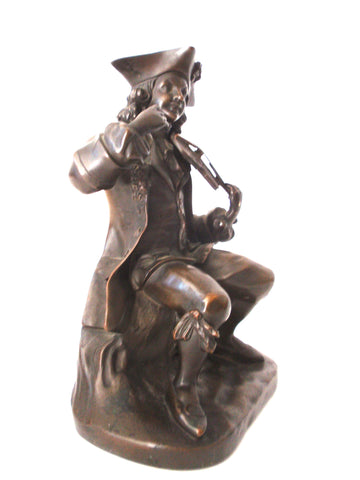 French School (19th/20th century), Violin Player, patinated bronze sculpture