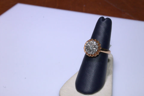 14K Rose and White Gold Diamond Ring, Russian, 20th century