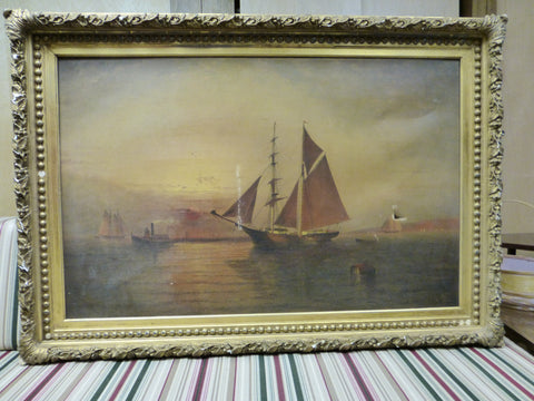 Elisha Taylor Baker (American 1827-1890), Ships at Sunset, oil on canvas, signed