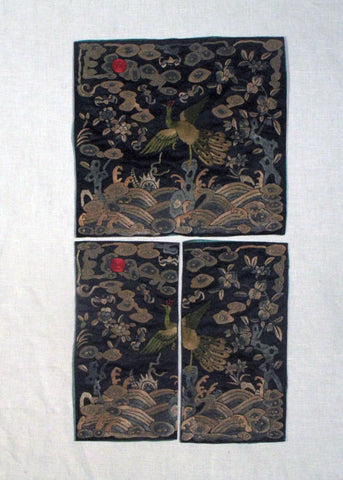 Pair of Chinese Embroidered Silk Civil Official Rank Badges, Late Qing Dynasty