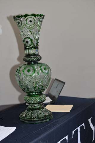 "Russian Green Cut to Clear Glass Tripartite Large Vase ""Tradition"" pattern, made by Gus Khrustalny, Moscow, early 21st century"