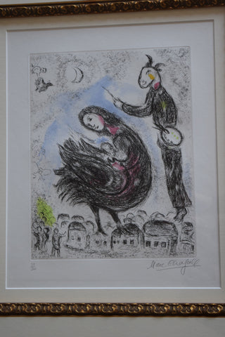 "Marc Chagall (French/Belorussian, 1887-1985), ""La Femme-Oiseau"", from Songes (CF.C. Books 112), etching and aquatint in colors"