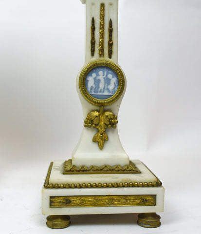 French White Marble, Ormolu and Wedgwood Porcelain Clock Garniture, ca. 1890-1900