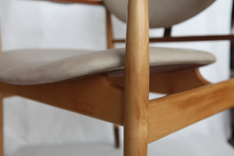Mid-Century Danish Teak and Beige Leather Armchair, Model NV4, designed by Finn Juhl (Danish, 1912-1989), manufactured in Copenhagen