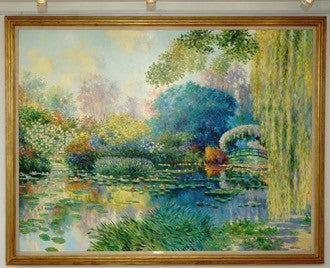 Claude Cambour (French, b. 1940), Monet's gardens at Giverny, oil on canvas, signed