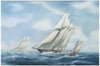 William Henry Bishop (British, b. 1942), The Schooner Yacht 'Atlantic' racing in the Kaiser's Cup, 1905, watercolor and gouache on paper, signed