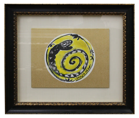 "Sa Sukwon (South Korean, b. 1960), ""Snake of the Zodiac"", 1999, ink and color on paper card, signed"