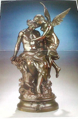 "Mathurin Moreau (French, 1822-1912), ""Reve du Poete"", patinated bronze figural group, circa 1860, signed"