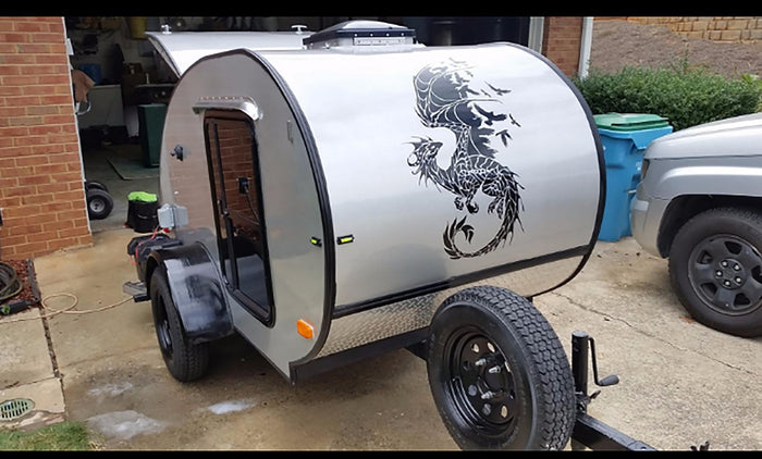 Amazing Dragon and Birds Decal - Auto trailer installation
