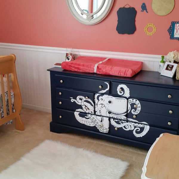 Awesome octopus decal installed on a bedroom drawer results is awesom wallstickers4you
