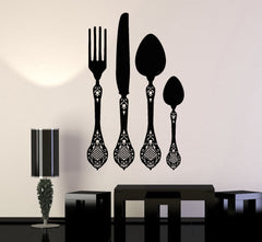 Vinyl Decal Wall Flatware Cutlery Kitchen Restaurant Decoration Stickers Unique Gift (066ig)