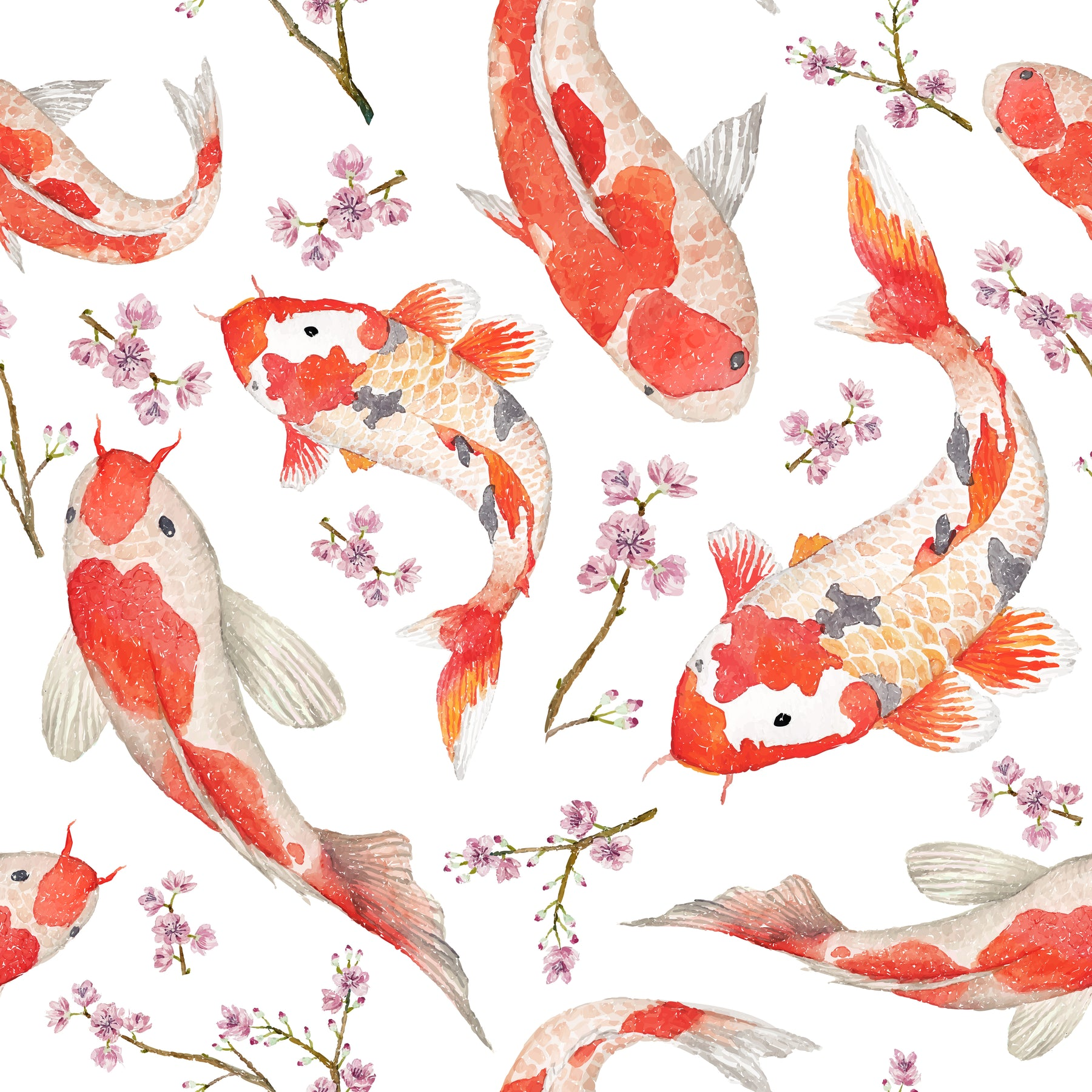 Asian Style Japanese Red Fish Koi Carp Multicolored Wallpaper Reusable Wallstickers4you