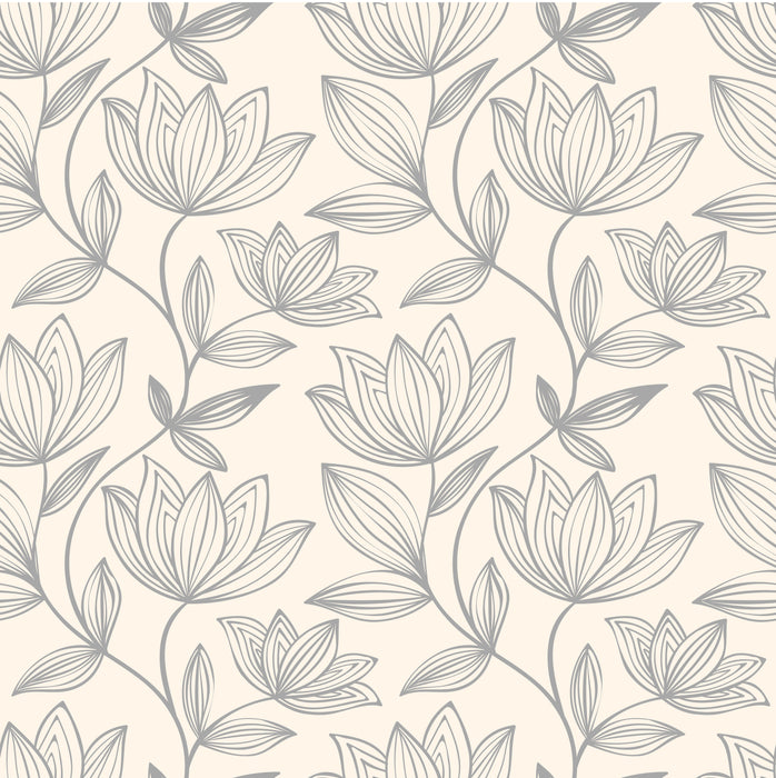 Abstract Lotus Flower Bud Pattern Multicolored Wallpaper Reusable Removable Accent Wall Interior Art (wal083)