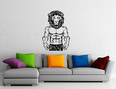 Wall Stickers Vinyl Decal Lion's Head Muscled Sport Gym Bodybuilding Unique Gift (ig1067)