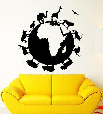Vinyl Decal Wall Sticker Globe Earth Geography Africa Animal Planet Nature School Home Decor (ig2233)