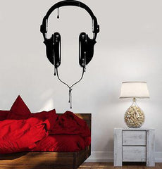 Wall Vinyl Music Headphones For Bedroom Guaranteed Quality Decal (z3530)