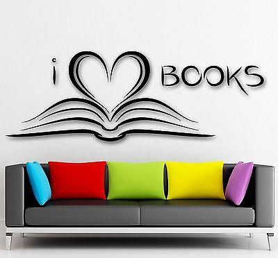 Wall Sticker Vinyl Decal I Love Books Bookworm Library Literature Unique Gift (ig2092)