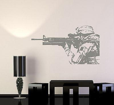 Wall Vinyl US Soldier Marine Seal Rifle M16 Guaranteed Quality Decal Unique Gift (z3431)