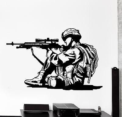 Wall Vinyl Marine Soldier Rifle M16 Guaranteed Quality Decal Unique Gift (z3449)
