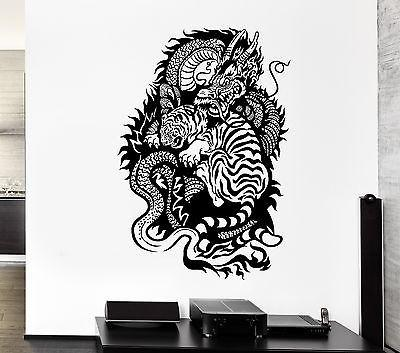 Wall Decal Dragon Tiger Fire Power China Fangs Mural Vinyl Stickers Unique Gift (ed065)