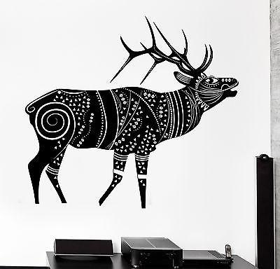 Wall Decal Animal Deer Cool Tribal Ornament Mural Vinyl Decal Unique Gift (z3168)